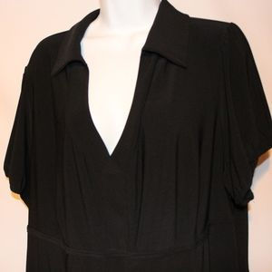 Lane Bryant Venezia Black Polo Blouse 26 28